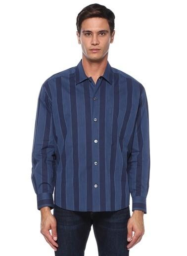 Cerimonia Pal Zileri  İngiliz Yaka Çizgili Gömlek 101529173 Lacivert